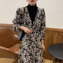 Dress Autumn 2020 Broken flowers Average size singleton  Long sleeves commute High collar Broken flowers routine Others 18-24 years old Other / other Korean version