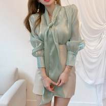 Fashion suit Spring 2021 Average size White shirt, green shirt, skirt s, Skirt M 18-25 years old 71% (inclusive) - 80% (inclusive) polyester fiber