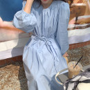 Dress Summer 2021 Apricot, blue Average size Mid length dress singleton  Long sleeves commute Crew neck Solid color puff sleeve 18-24 years old Other / other Korean version 51% (inclusive) - 70% (inclusive)