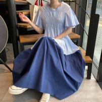 Dress Summer 2020 Blue, pink Average size longuette singleton  Short sleeve commute Crew neck Big swing Flying sleeve 18-24 years old Other / other Korean version