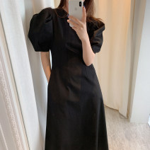 Dress Summer 2020 White, black Average size longuette singleton  Short sleeve commute Crew neck High waist Solid color Big swing puff sleeve 18-24 years old Other / other Korean version