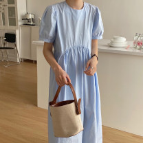 Dress Summer 2020 Sky blue, white, pink Average size longuette singleton  Short sleeve commute Crew neck High waist Solid color puff sleeve 18-24 years old Other / other Korean version