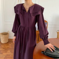 Dress Autumn 2020 Purple, camel, black Average size longuette singleton  Long sleeves commute Doll Collar Loose waist Solid color Socket other bishop sleeve Others 18-24 years old Type H Other / other Korean version 71% (inclusive) - 80% (inclusive)