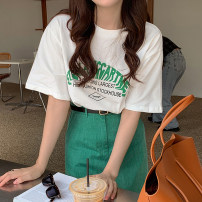Fashion suit Summer 2021 Average size T-shirt, retro green skirt with belt 18-25 years old Other / other 51% (inclusive) - 70% (inclusive)