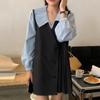 Fashion suit Summer 2021 Average size Blue shirt, black dress 18-25 years old Other / other