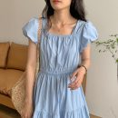 Dress Summer 2021 White, blue, yellow Average size longuette singleton  Short sleeve commute square neck Solid color puff sleeve Others 18-24 years old Other / other Korean version