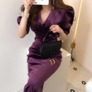 Dress Spring 2020 Purple, black S,M,L Mid length dress singleton  Long sleeves commute V-neck 18-24 years old Korean version