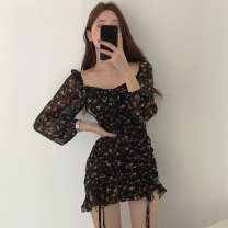 Dress Autumn 2020 black S,M,L Middle-skirt singleton  Long sleeves commute square neck High waist Broken flowers Socket A-line skirt routine 18-24 years old Type A Other / other Korean version printing 71% (inclusive) - 80% (inclusive) other