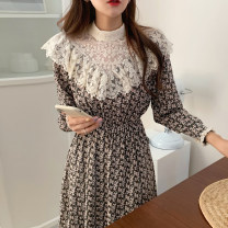 Dress Autumn 2020 Orange, blue, black Average size longuette singleton  Long sleeves commute Half high collar High waist Broken flowers Socket Ruffle Skirt routine Others 18-24 years old Type H Other / other Korean version 71% (inclusive) - 80% (inclusive)