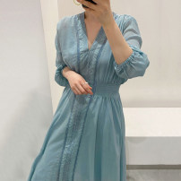 Dress Spring 2020 Khaki (with sling), blue (with sling) Average size longuette singleton  Long sleeves commute V-neck High waist Solid color routine 25-29 years old Other / other Korean version cotton