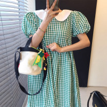 Dress Summer 2021 Green check, black check Average size longuette Short sleeve commute Doll Collar puff sleeve 18-24 years old Other / other Korean version 51% (inclusive) - 70% (inclusive)