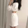 Dress Autumn of 2019 White, blue, pink Average size Short skirt singleton  Long sleeves commute Crew neck High waist Solid color A-line skirt puff sleeve 18-24 years old Type A Other / other Korean version
