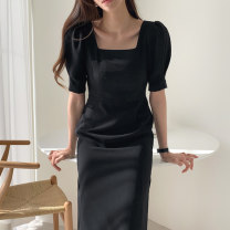 Dress Summer 2021 Apricot, black S,M,L Mid length dress singleton  Short sleeve commute square neck High waist Solid color Socket other puff sleeve Others 18-24 years old Type H Other / other Korean version 71% (inclusive) - 80% (inclusive) other cotton