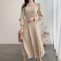 Dress Autumn 2020 Apricot, lotus root Pink S,M,L longuette singleton  Long sleeves commute square neck High waist Solid color Socket routine Others 18-24 years old Type A Other / other Korean version zipper More than 95%