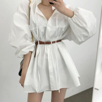 Dress Summer 2021 White (belt), black (belt), black vest, white vest Average size Short skirt singleton  Long sleeves Crew neck Loose waist Solid color Single breasted other bishop sleeve 18-24 years old Type A Other / other