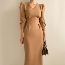 Dress Autumn 2020 Light brown, black S,M,L Mid length dress singleton  Long sleeves commute V-neck Solid color puff sleeve Others 18-24 years old Other / other Korean version