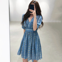 Dress Summer 2020 blue S, M Mid length dress singleton  Short sleeve commute V-neck High waist Decor 18-24 years old Other / other Korean version