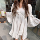 Dress Autumn 2020 white Average size Middle-skirt singleton  Long sleeves commute V-neck Solid color pagoda sleeve 18-24 years old Other / other Korean version