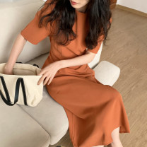 Dress Summer 2021 Orange, dark blue, white, pink, green Average size longuette singleton  Short sleeve commute Crew neck Solid color routine Others 18-24 years old Other / other Korean version