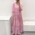 Dress Summer 2020 Pink, black Average size longuette Two piece set three quarter sleeve Sweet Crew neck Loose waist Solid color Single breasted Big swing puff sleeve Others 18-24 years old Type A Other / other 81% (inclusive) - 90% (inclusive) Chiffon