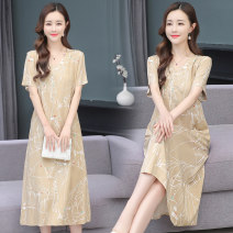 Dress Summer 2021 1, 2, 3, 4 XL,2XL,3XL,4XL,5XL Mid length dress singleton  Short sleeve commute V-neck Loose waist stripe Socket other routine Others 30-34 years old T-type Other / other Korean version printing 91% (inclusive) - 95% (inclusive) Chiffon cotton