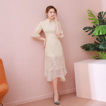 cheongsam Autumn 2020 S,M,L,XL three quarter sleeve long cheongsam Retro High slit daily Straight front Solid color 18-25 years old Piping WAN.YX/ Wan Yunxi polyester fiber 91% (inclusive) - 95% (inclusive)