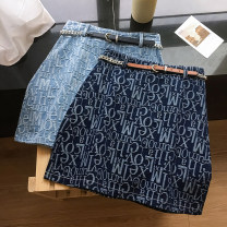 skirt Summer 2021 S,M,L,XL Dark blue, light blue Short skirt commute High waist A-line skirt letter Type A 25-29 years old 51% (inclusive) - 70% (inclusive) Denim Power society cotton Zipper, print Korean version