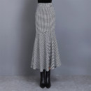 skirt Spring 2021 S,M,L,XL,2XL Black and white check longuette commute High waist Ruffle Skirt houndstooth  Type A 25-29 years old 51% (inclusive) - 70% (inclusive) cotton Ruffle, zipper, stitching Ol style