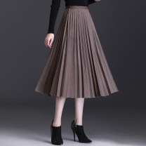 skirt Spring 2021 Average size Mid length dress commute High waist Pleated skirt Solid color Type A 25-29 years old More than 95% polyester fiber Fold, splice Korean version