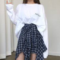 Fashion suit Autumn of 2018 Average size (160 / 84A) White T-shirt, Navy skirt, a set of pictures 18-25 years old Other / other