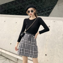 skirt Autumn of 2018 S,M,L Middle-skirt Versatile lattice Type A 18-24 years old Other / other
