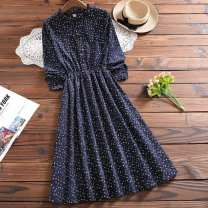 Dress Autumn 2020 Red, blue, white vest S,M,L,XL,2XL Mid length dress singleton  Long sleeves commute Crew neck High waist Broken flowers other Others 18-24 years old Type A Retro Button other
