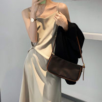 Dress Summer 2021 Champagne, black, green M, L Mid length dress singleton  Sleeveless commute V-neck High waist Solid color Socket A-line skirt other camisole 18-24 years old Type H Zhicongxi Retro fold Taochuan 5130 51% (inclusive) - 70% (inclusive) Silk and satin Cellulose acetate
