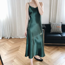 Dress Summer 2020 Champagne, black, ivory, emerald S,M,L longuette singleton  Sleeveless commute V-neck High waist Solid color Socket A-line skirt other camisole 18-24 years old Type A Retro Splicing Luxi 8930 81% (inclusive) - 90% (inclusive) other other
