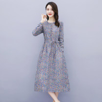 Dress Autumn 2020 Red, orchid, Navy M,L,XL,2XL,3XL Mid length dress singleton  Long sleeves commute Crew neck Loose waist Broken flowers Socket A-line skirt routine Others Type A Korean version Fold, fungus, pocket, lace, button, print More than 95% cotton