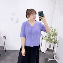 Women's large Spring 2021, summer 2021 Black, purple Large XL, 2XL, 3XL T-shirt singleton  commute easy thin Cardigan Short sleeve Solid color V-neck have cash less than that is registered in the accounts Three dimensional cutting