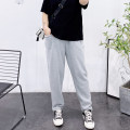 Women's large Spring 2021, summer 2021 Gray, black Large XL, 2XL, 3XL, 4XL trousers singleton  easy thin Solid color cotton Three dimensional cutting pocket trousers