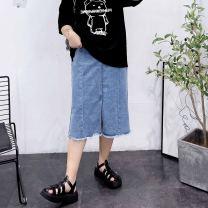 Women's large Spring 2021, summer 2021 Black, blue 30,32,34,36,38,40 skirt singleton  commute easy thin Solid color Denim Hand abrasion pocket