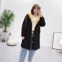 Women's large Autumn of 2019 Black, green Large XL, 2XL, 3XL Windbreaker singleton  street easy moderate Cardigan Long sleeves Solid color, shape Hood Medium length Nylon, cotton printing and dyeing Button