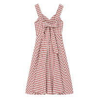 Dress Spring 2021 Red check S.,M. longuette singleton  Sleeveless commute One word collar High waist Socket A-line skirt camisole Type A Bow, open back