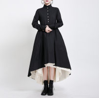 Dress Autumn 2020 black S,L,M longuette singleton  Long sleeves street stand collar middle-waisted Solid color Single breasted Big swing routine Others 25-29 years old Type A Other / other Splicing 51% (inclusive) - 70% (inclusive) other other Europe and America