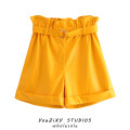 Casual pants yellow S,M,L Autumn 2020 shorts Wide leg pants High waist street routine Europe and America