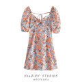 Dress Summer 2021 Decor S,M,L Short skirt singleton  Short sleeve street One word collar Decor Socket puff sleeve Type A Printing, splicing Europe and America