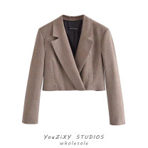 short coat Summer 2021 XS,S,M,L Picture color Long sleeves have cash less than that is registered in the accounts routine singleton  High waist type street routine tailored collar Single breasted lattice Button, stitching polyester fiber