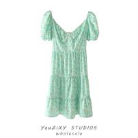 Dress Summer 2021 Decor S,M,L Short skirt singleton  Short sleeve street square neck Decor Socket puff sleeve Printing, splicing Europe and America