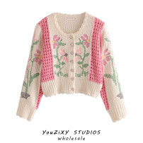 Wool knitwear Autumn 2020 S, M Decor Long sleeves singleton  Cardigan other 71% (inclusive) - 80% (inclusive) Regular routine street easy Plants and flowers Single breasted Embroidery, stitching