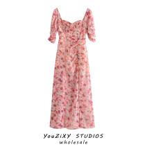Dress Autumn 2020 Decor S,M,L Mid length dress singleton  Short sleeve street V-neck Decor Stitching, lace Europe and America