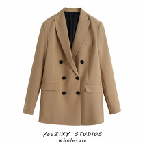 suit Autumn 2020 suit XS,S,M,L Long sleeves routine easy tailored collar double-breasted street Solid color Splicing