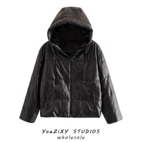 Cotton padded clothes Black, off white, khaki XS,S,M,L Winter 2020 Other / other routine Long sleeves thickening zipper street Hood Solid color Lace up, stitching Europe and America