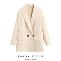 suit Autumn 2020 Off white, black XS,S,M,L Long sleeves Medium length easy tailored collar street Solid color